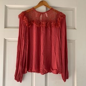 Xhilaration Target Dusty Pink/Red Lace Blouse